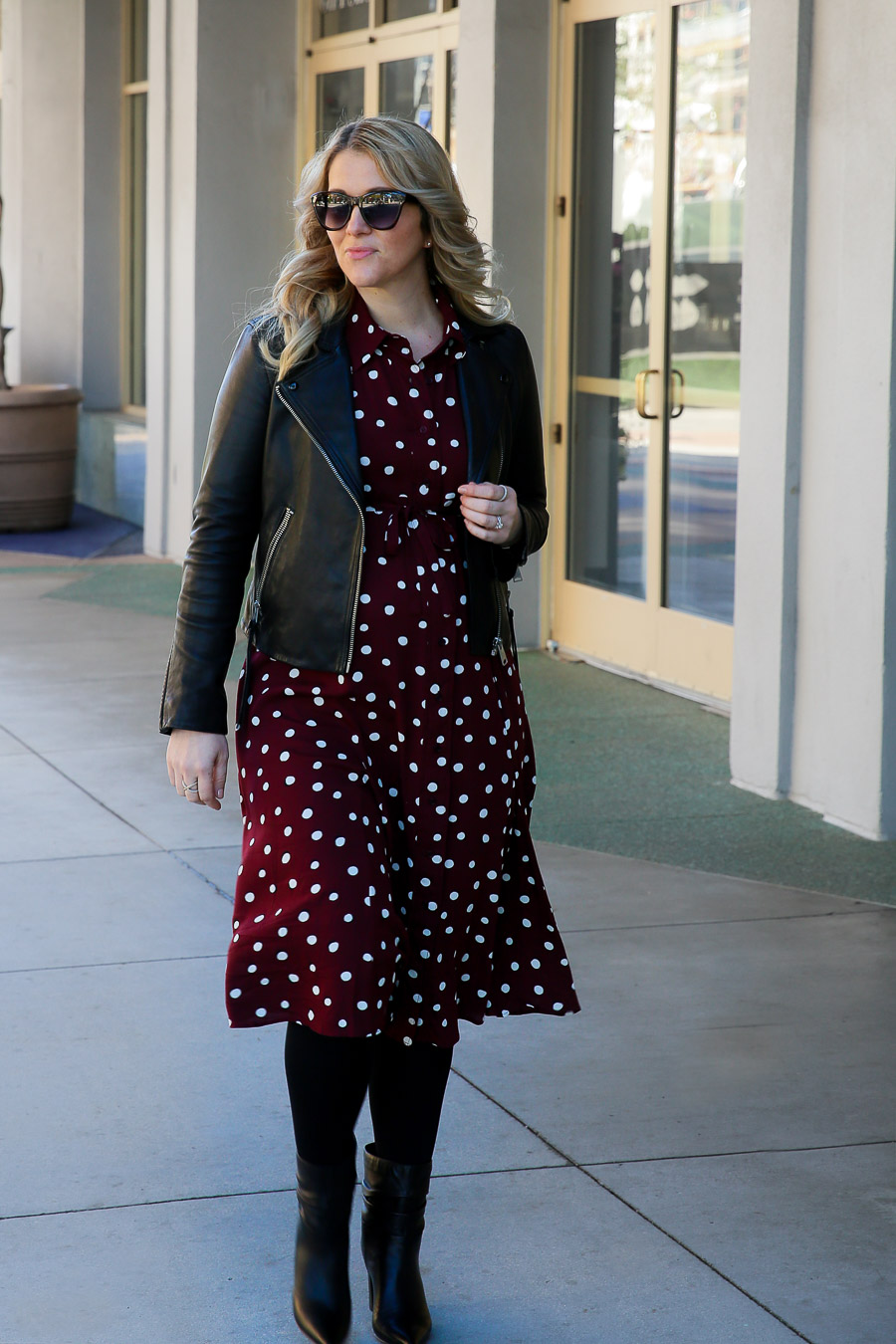 Maternity Dress Outfit with Leather Jacket - Isabella Oliver Review