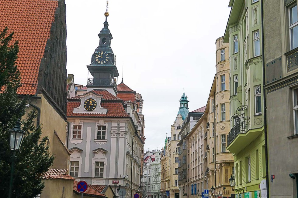 Prague Architecture Photos - The Old New Synagogue Clock Tower