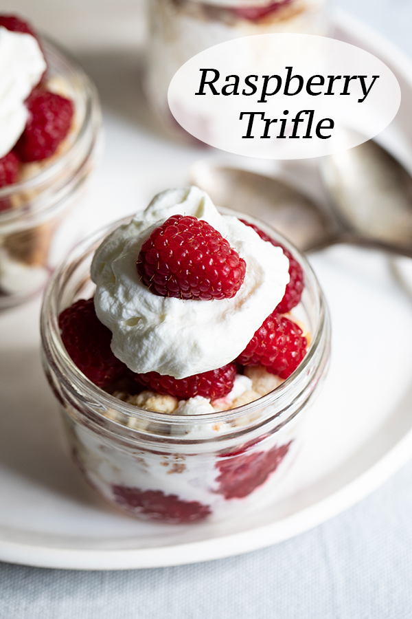 Individual Raspberry Shortcake Trifles. Great summer dessert with berries with homemade whipped cream and biscuits. #dessert #raspberries #raspberry #summer #trifles