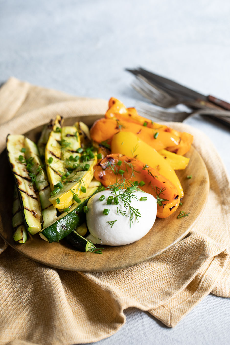 Grilled Vegetable Platter with Burrata Appetizer