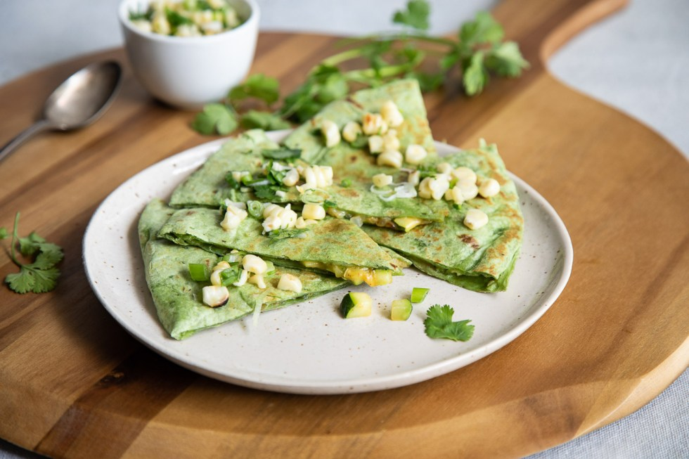 Zucchini Quesadillas with Fresh Corn Salsa