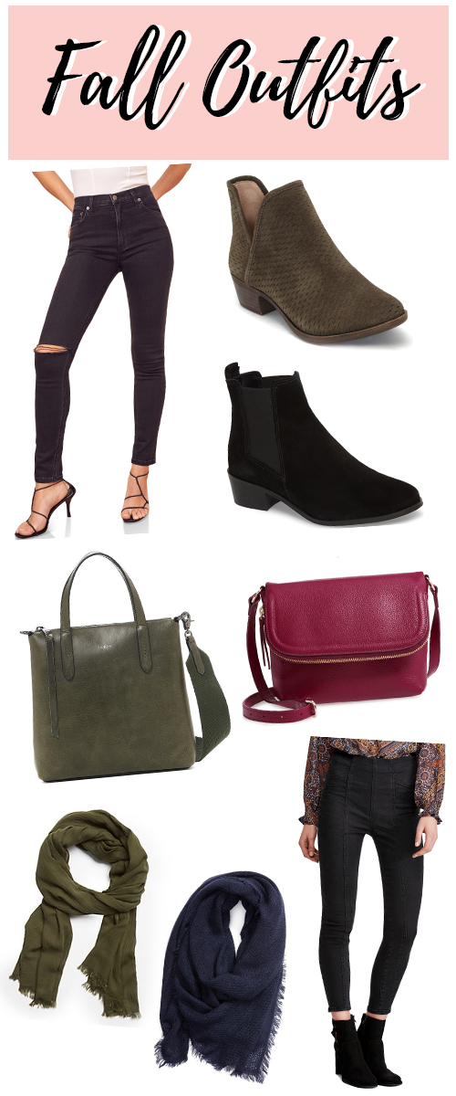 Fall clothes and outfit ideas with black skinny jeans.