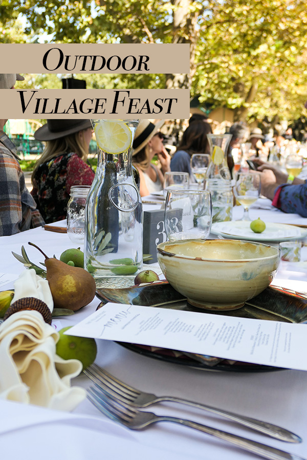 Outdoor Village Feast fundraiser with silent auction to support farm to fork education in local schools! French outdoor aioli feast in northern California.