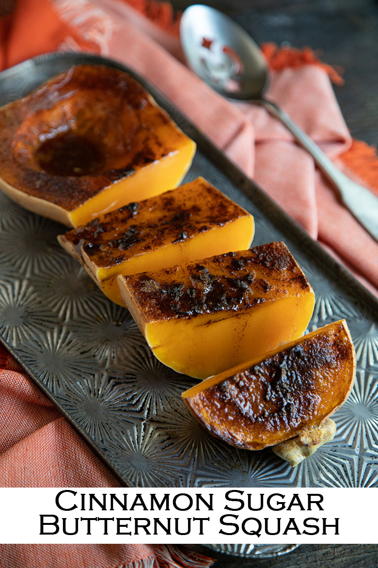 Roasted Cinnamon Sugar squash. Roasted Butternut squash covered in cinnamon, brown sugar, and butter for a great, healthy veggie side dish for the holiday season and winter. #vegetarian #lmrecipes #thanksgiving