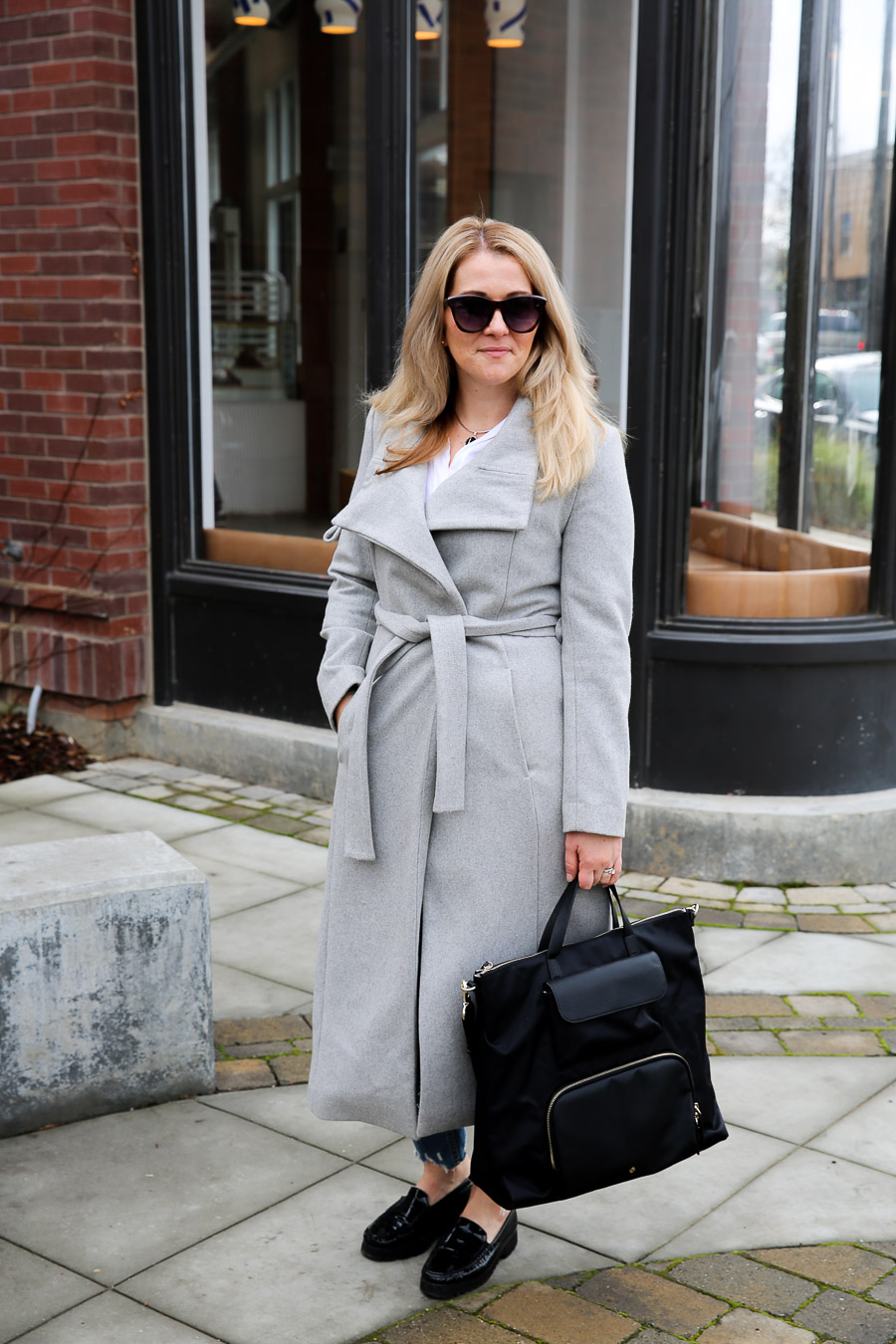 Long Grey Coat Outfit with Jeans