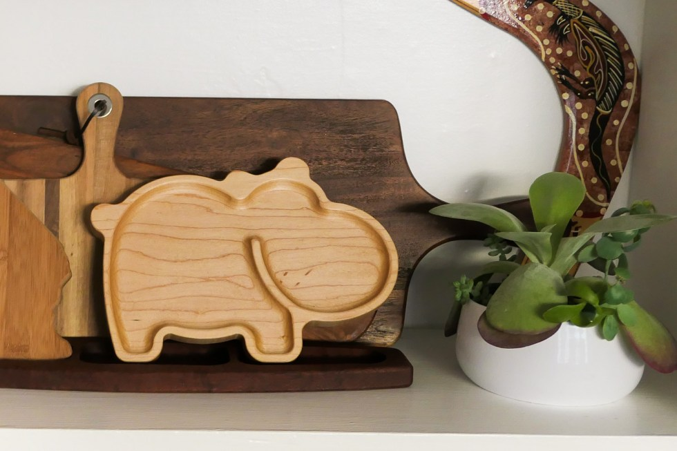 Wooden Child's Plate - Hippo