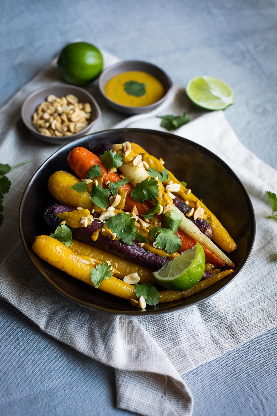 Roasted Carrots with Peanut Curry Sauce