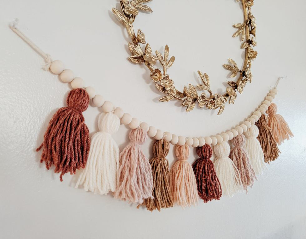 Upcycled yarn tassel garland in pinks/browns- shop local on etst