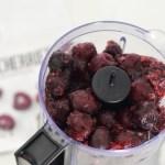 frozne cherries in food processor.