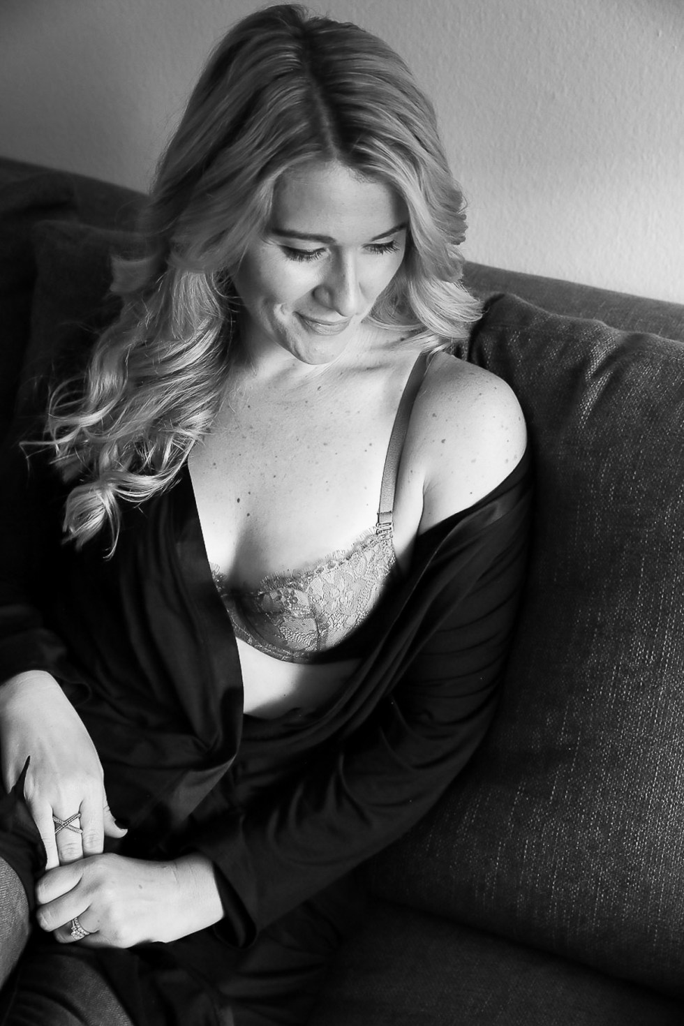 Luci on Couch in black and white - sustainable undergarments writeup