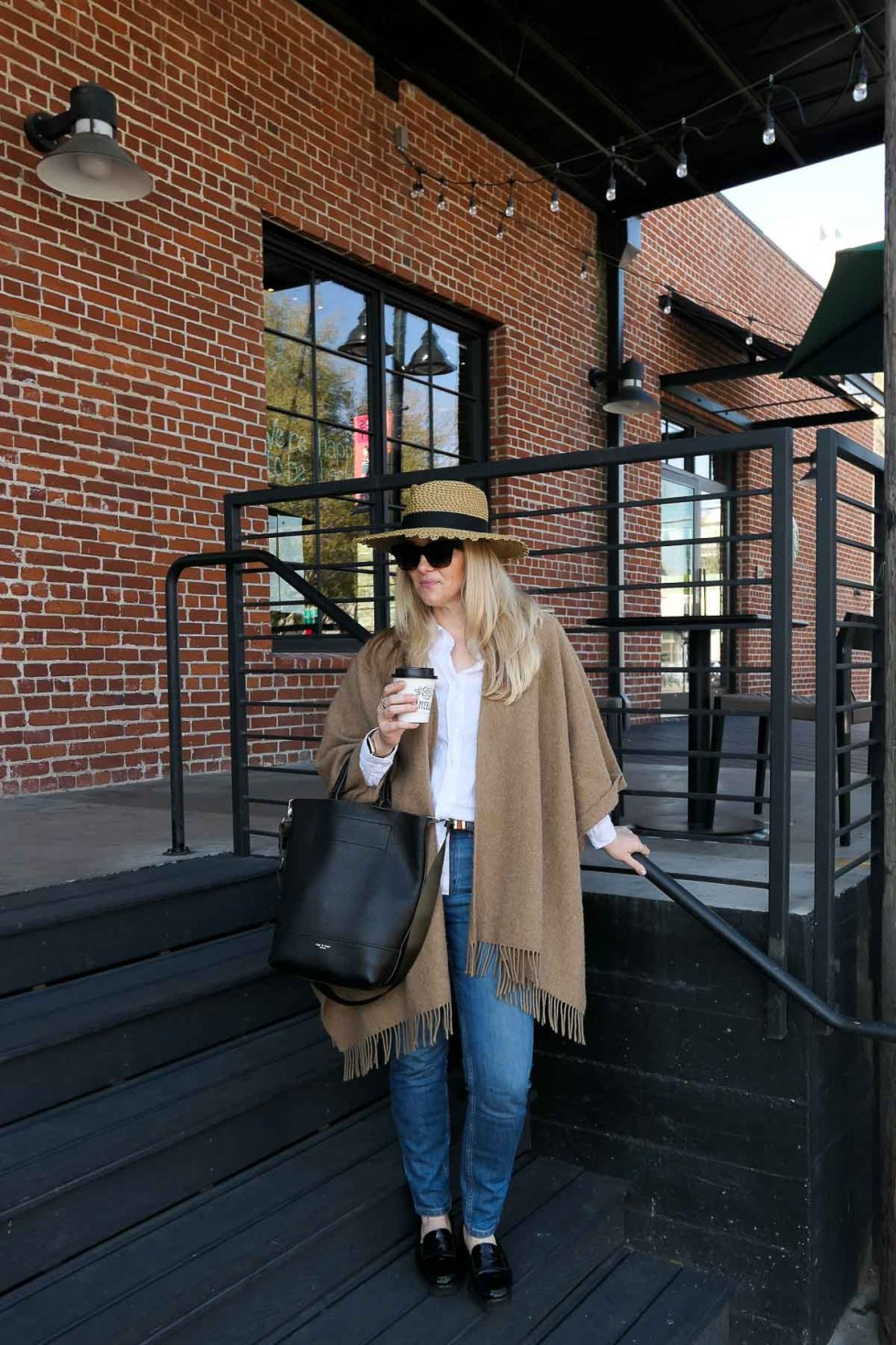 Investing in Quality Clothes - Jeans, Tan Poncho, Straw Hat Outfit for Late Winter