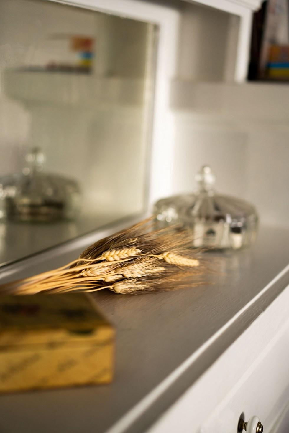 Dried Wheat on Shelf - Natural Fall Decor