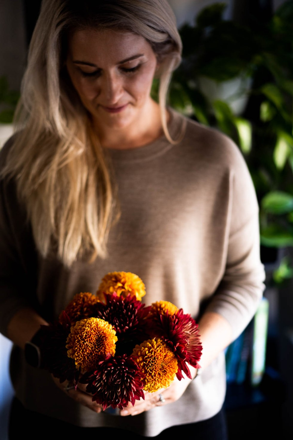 Natural Fall Decor - Red & Orange Mum Flowers