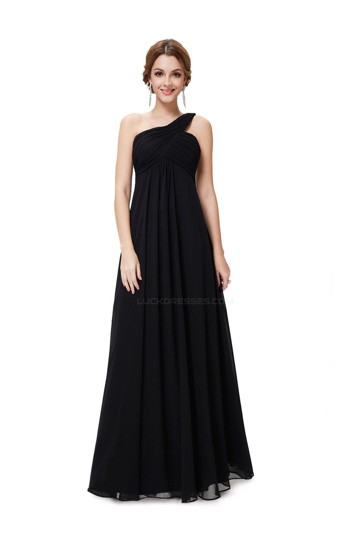 Empire One Shoulder Long Black Chiffon Bridesmaid Dresses