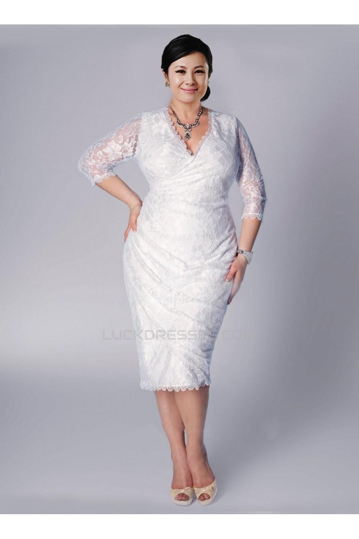 sheath 3 4 sleeves v neck lace short plus size bridal wedding dresses wd010310