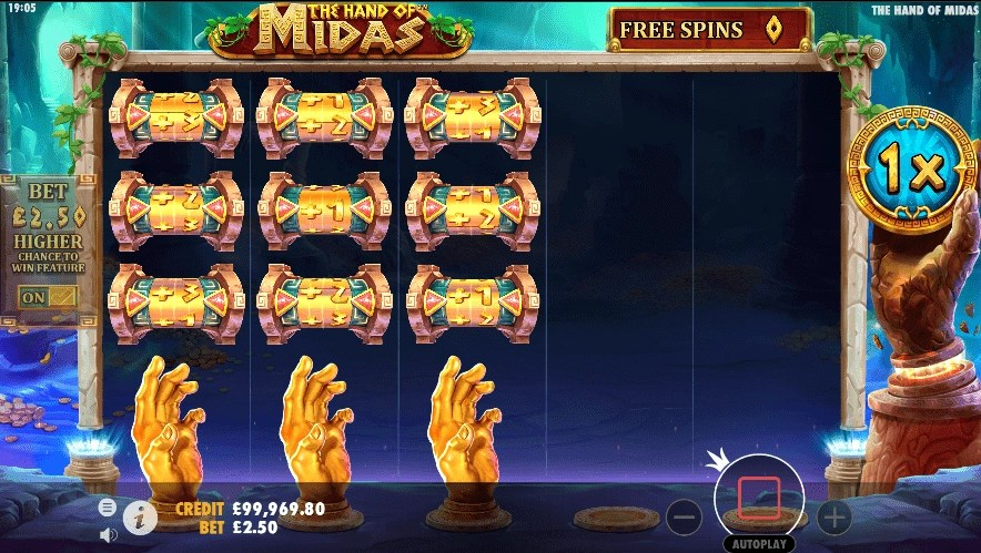 The Hand of Midas slot free spins