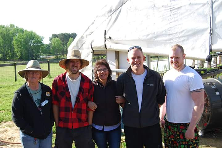 From left to right: Inter-Faith Food Shuttle Farm Manager Kay Coleman, Incubator Farmer Jesse Crouch of NC Regrown, Incubator Farmer Maria of LuLu's Farm, Lucky 32 Chefs.