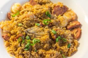 Jambalaya with Cajun spiced rice, wild-caught American shrimp, chicken and andouille sausage