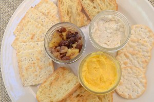 Seasonal Dips and Spreads three selections in nifty jars with crackers and crostini