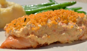 Trillium Baked Salmon with a creamy horseradish-smoked salmon crust