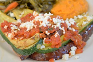 Grilled Summer Vegetables, zucchini, yellow squash, eggplant, Creole sauce and ricotta cheese