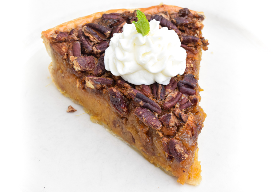 Sweet Potato Pecan Pie with fresh whipped cream