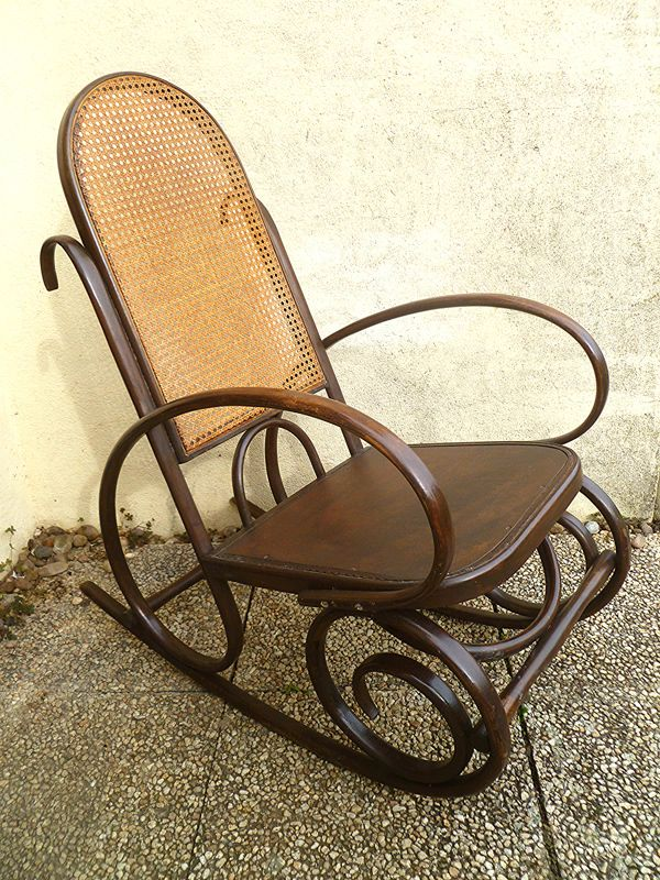 rocking chair ancien bois courbe et cannage