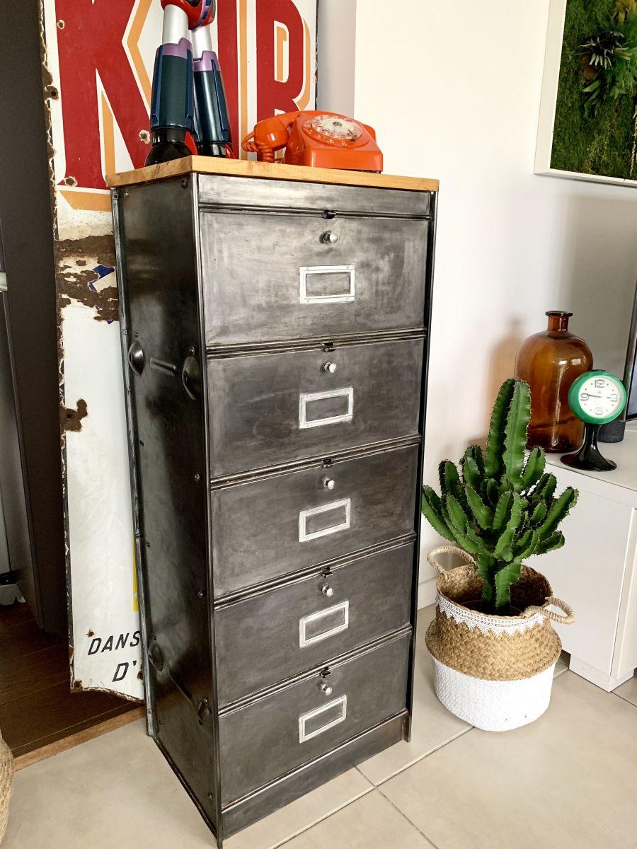 ancien meuble metal a clapets roneo vintage
