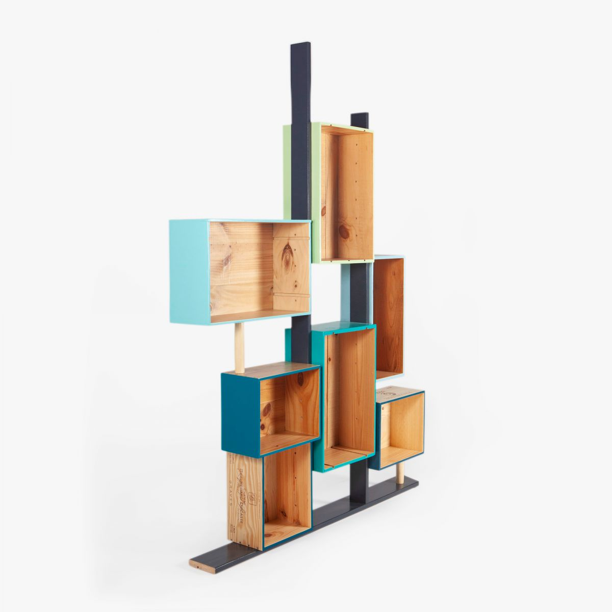 etagere bibliotheque caisses bleu vertes design bois massif