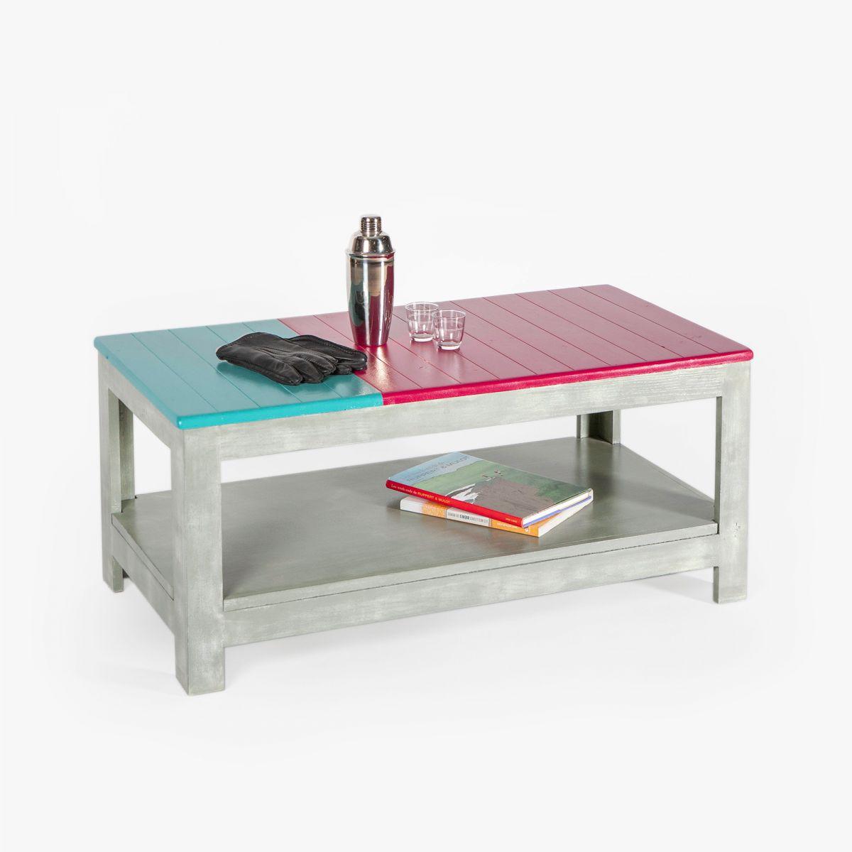 table basse coloree bois massif effet beton avec rangement