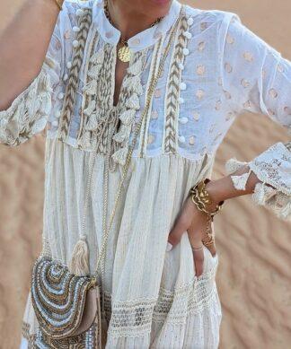 langes Kleid DESERT SUN – creme-beige
