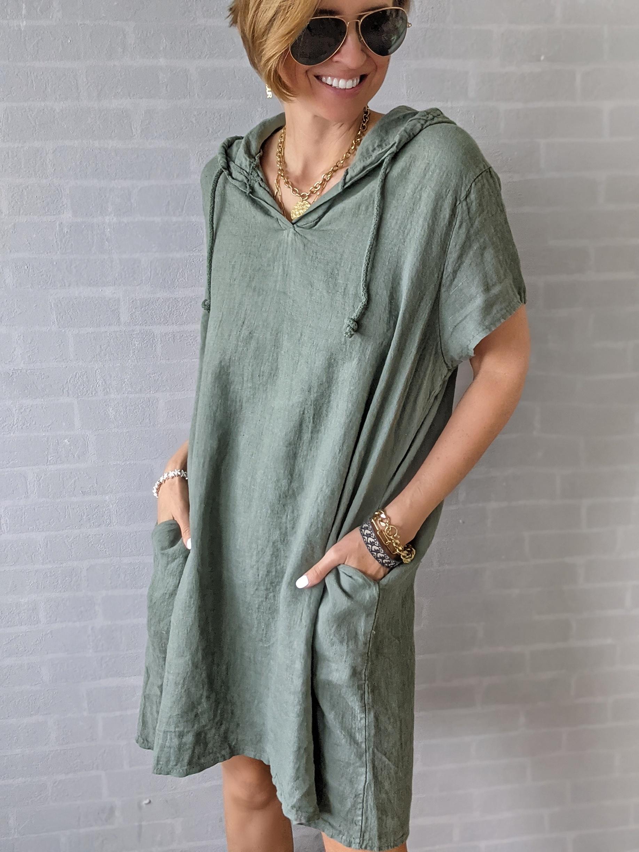 Hoodie Dress Leinen FEEL THE HEAT
