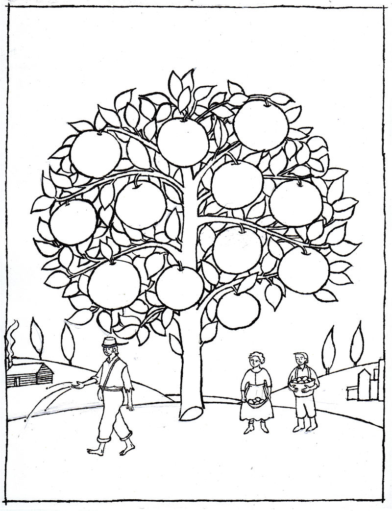 johnny appleseed tree coloring pages  coloring sheets