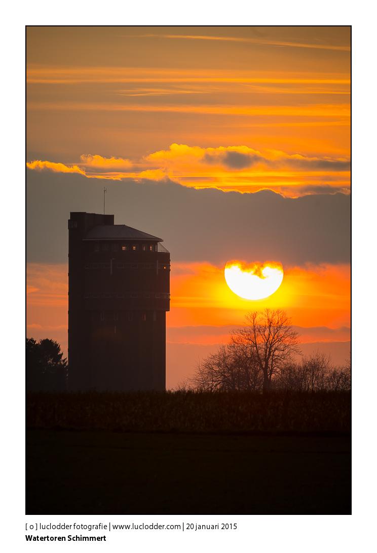 Watertoren Schimmert bij zonsondergang, zon, sunset