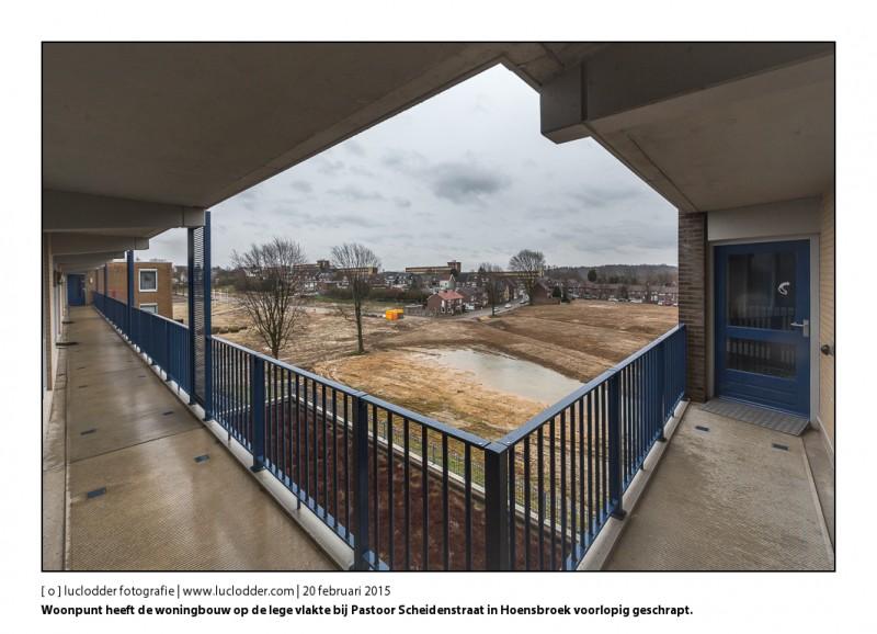 Woonpunt heeft de woningbouw op de lege vlakte bij Pastoor Scheidenstraat in Hoensbroek voorlopig geschrapt.