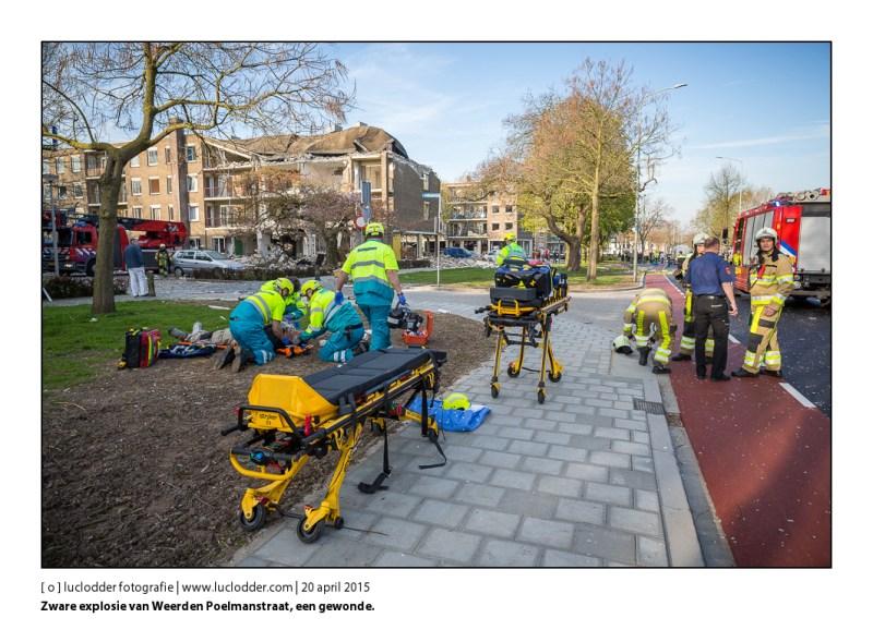 Zware explosie van Weerden Poelmanstraat, een gewonde.