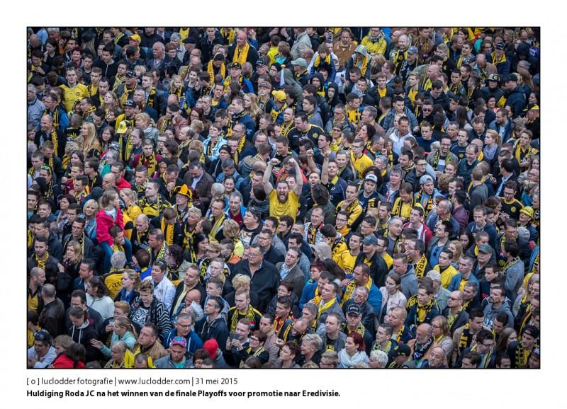 Huldiging Roda JC op de Markt in Kerkrade na het winnen van de finale Playoffs voor promotie naar de Eredivisie