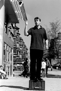 Man standing on a soapbox