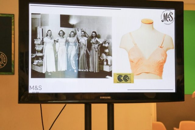 presentation with photos of the first bra and a black and white image of women in nightwear