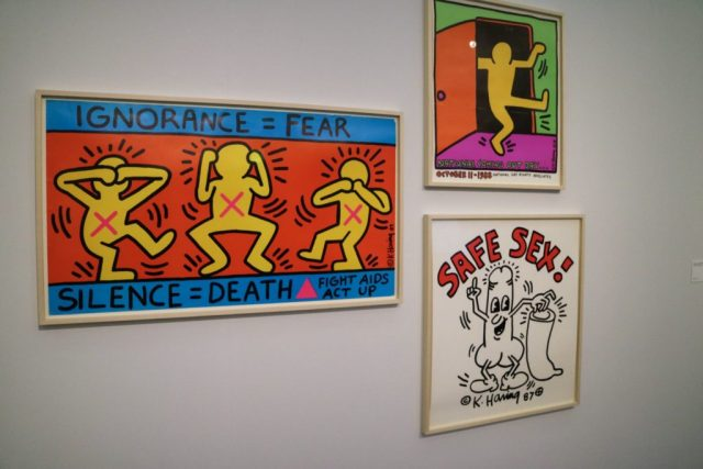 pieces of art from the Keith Haring exhibition at the Tate Liverpool