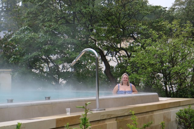 lucy in the outdoor pool at rudding park spa