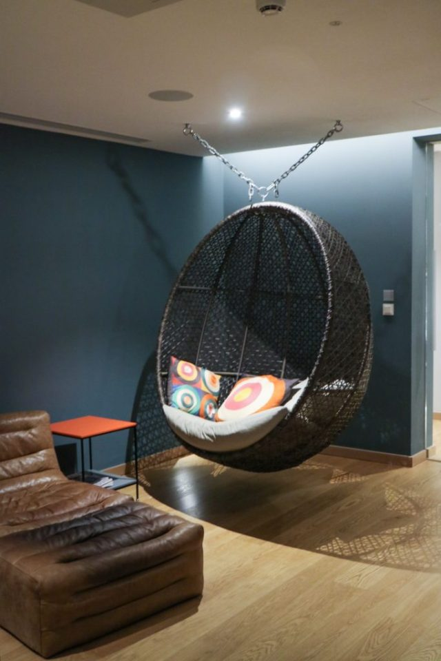 egg chair in the relaxation rooms at rudding park spa