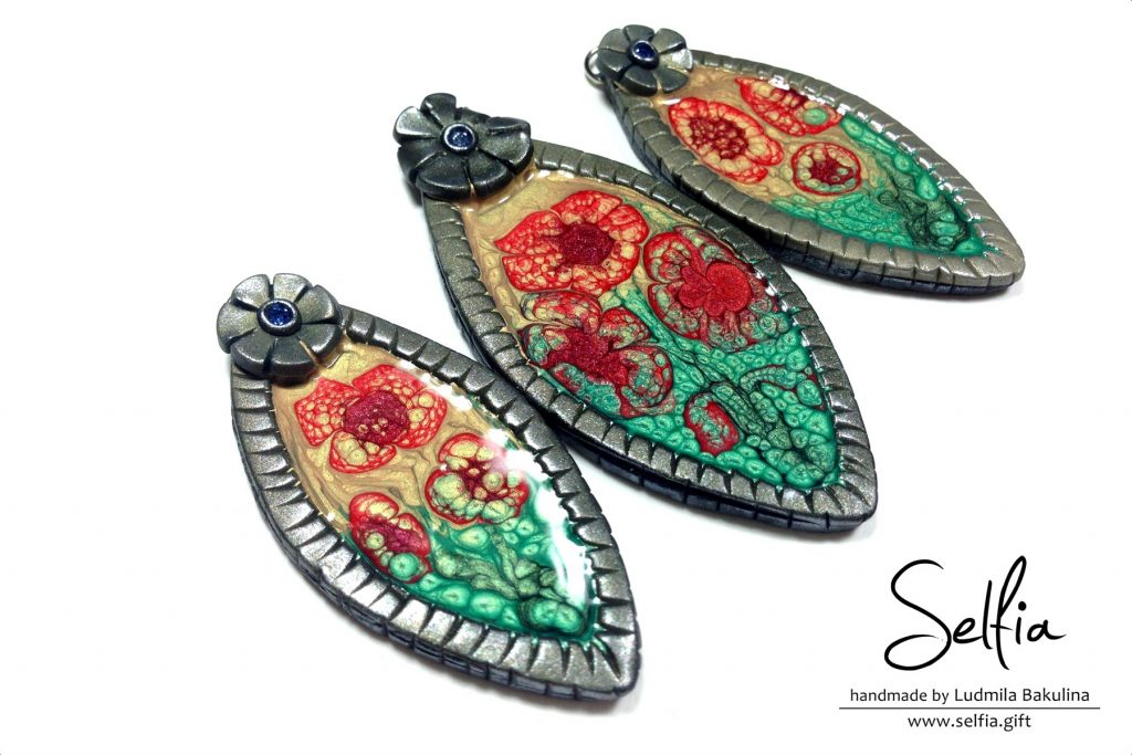 Bright blanks for jewelry made from polymer clay covered with Pebeo Prisme Fantasy paints (5 video) 12
