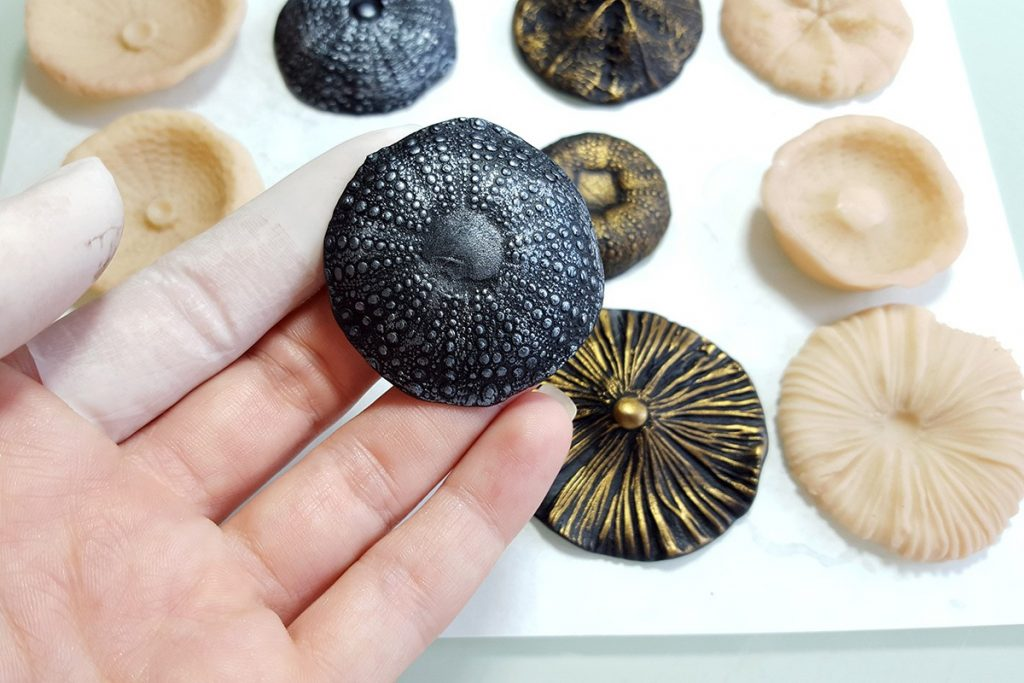 How to make different textured sheets using Mould Makers Sculpey and natural things 9