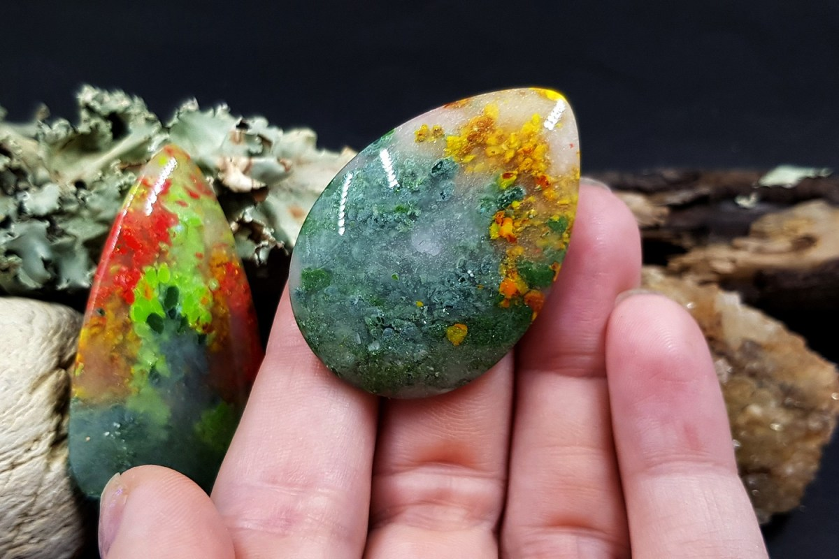Faux Moss Agate Gemstone Cabochons 2
