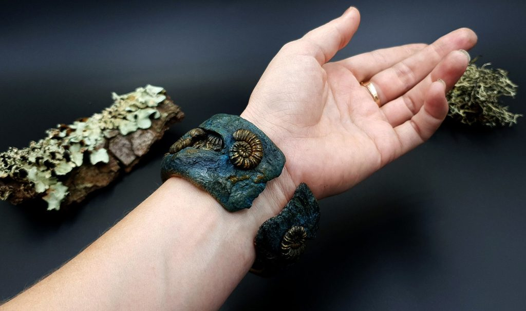 How to Make: Unique Bracelet Cuff with Faux Fossil Ammonites in Rock 11