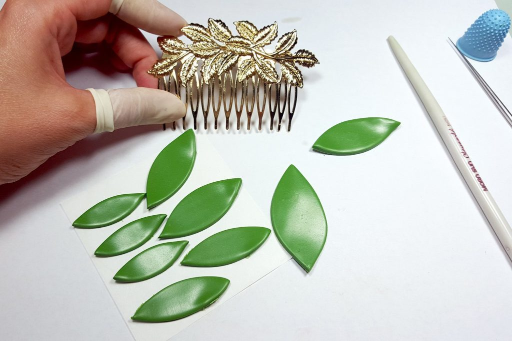 Hair Comb With Realistic Tulips Flowers from Polymer Clay 69