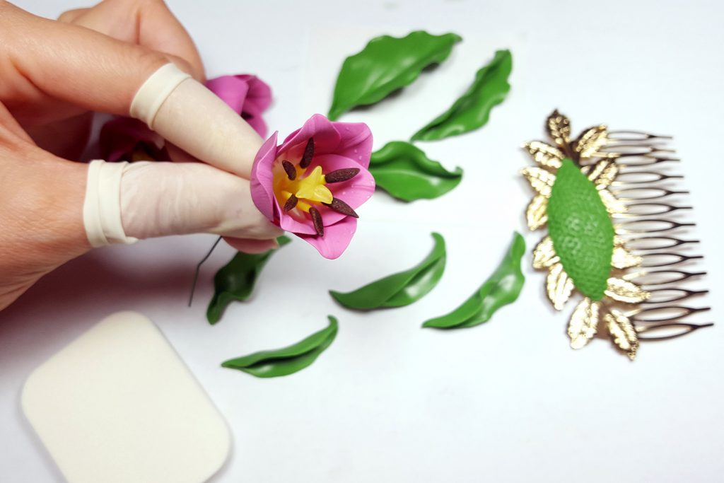 Hair Comb With Realistic Tulips Flowers from Polymer Clay 80