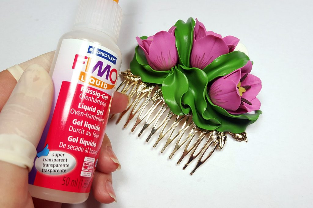 Hair Comb With Realistic Tulips Flowers from Polymer Clay 95