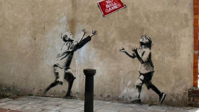 Banksy children playing